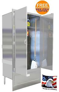 Mop Sink 44 Mat Wash Stainless Steel Enclosed Cabinet With Doors Made In Usa