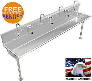 Hand Sink 4 Users Multi Station 96 Wash Up Elect Faucet Hands Free Made In Usa