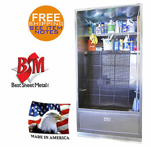 Enclosure Mop Sink 94 x44 Stainless Steel Wash Up Cabinet Shelves Made In Usa
