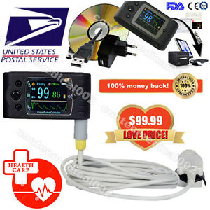 Portable Handheld Tft Finger Tip Pulse Oximeter Blood Oxygen Spo2 Pr Software Us