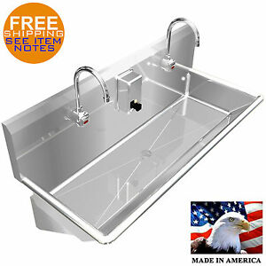 Wash Up Hand Sink Multistation 2 Users 42 Elec Faucet Lavatory Stainless Steel