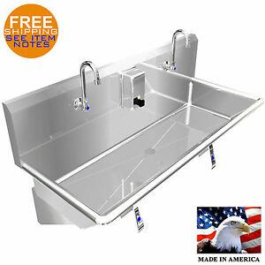 Hand Sink 40 2 Users Multistation Knee Valve Stainless Steel Basin Made