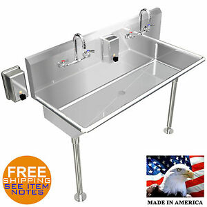Hand Sink Stainless Steel 42 Industrial Heavy Duty 2 Users Wash Up Made In Usa