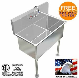 Hand Sink 36 x20 x15 deep Tub Heavy Duty Stainless Steel Washing Made In America