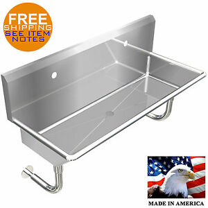 Industrial 2 Users Multistation Hand Sink 48 Stainless Steel Without Faucet