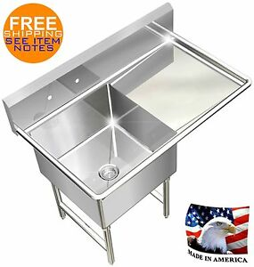 Pot Sink Heavy Duty Stainless Steel 14ga 1 Tub 39x24 Nsf Right Drainboard Only
