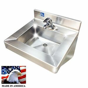 Wash Up Hand Sink Single Faucet Ada Compliant Lavatory Stainless Steel Heavy D