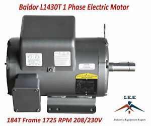 5 Hp Single Phase Electric Compressor Motor 184t Frame Same As L1430t 230 Volt