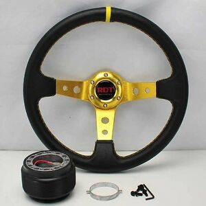 Gold Deep Dish 13 5 Steering Wheel hub For 95 95 Civic Eg 94 01 Integra