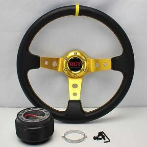 Gold Deep Dish 13 5 Steering Wheel Hub For 90 93 Integra 88 91 Civic Crx