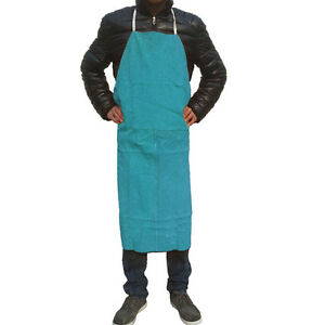 24 X 36 Leather Bib Welding Apron Heat Insulation Protection Safety Apron Blue