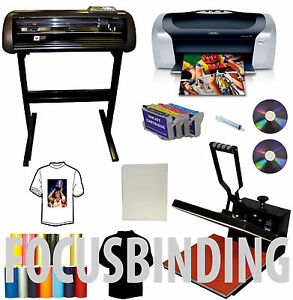 15x15 Heat Press 28 Vinyl Plotter Cutter Printer Ink Kit Tshirt Startup Bundle