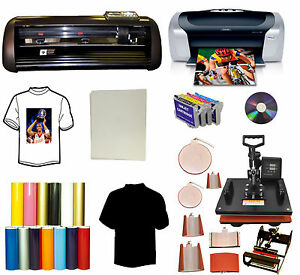 8in1 Combo Heat Press vinyl Plotter Cutter Printer Ciss Pu Vinyl Start up Bundle