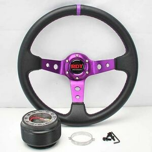 Purple Deep Dish 13 5 Steering Wheel hub For 90 93 Integra 88 91 Civic Crx
