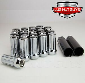 24 Lug Nuts 14x1 5 Chrome Spline Acorn 2 Long Tall Chevy Silverado 2 Keys