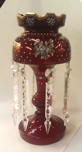 Antique Handpainted Ruby Lustre 8 Arrow Crystal 13 5 High Good Condition Luster