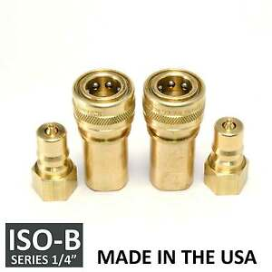 2 Sets 1 4 Iso b Hydraulic Hose Quick Disconnect Couplers Plug iso 7241 1 B