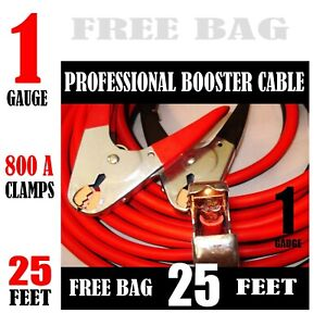 Industrial Heavy Duty 30 Feet 1 Gauge Booster Jumper Cables Tire Repair Kit