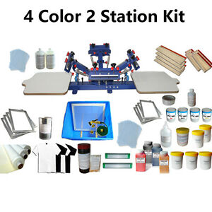 4 Color 2 Station Screen Printing Kit Press Printer Micro adjust Silk Screen