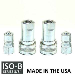 2 Sets 3 8 Iso b Hydraulic Hose Quick Disconnect Couplers Plug iso 7241 1 B