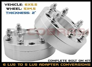 2pc 6x5 5 To 5x4 5 Conversion 2 Wheel Adapters Jeep Ford Wheels On Chevy Toyota