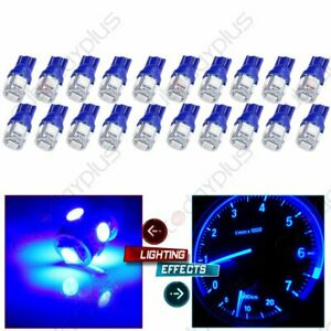 20x Blue 5smd Led Bulbs T10 W5w 158 194 Dash Guage Panel Lights Lamp For Chevy