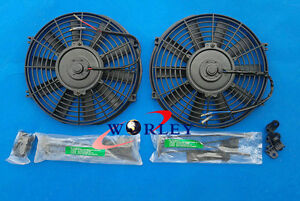 2 X 14 Inch 12v Universal Slim Electric Radiator Engine Bay Cooling Fan Mount