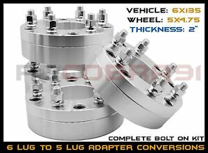 4 Pc Ford 6x135 Mm To 5x4 75 Gmc Chevy Pattern Use 5 Lug Wheels On A Ford 6x135