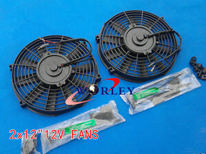 2 12v 12 Slim Radiator Cooling Thermo Electric Fan Mounting Kit