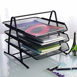 3 tier Steel Mesh Organizer School Office Supply Storage Holder Desktop Tray New