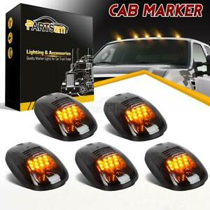 5pc Smoke Cab Roof Marker Lights Yellow For 2003 2018 Dodge Ram 2500 3500 4500