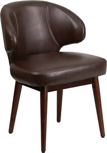 Contemporary Design Comfort Back Brown Leather Reception Lounge Office Chair