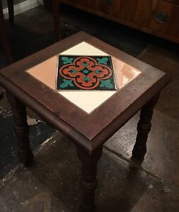 Antique Spanish Revival Small End Table With Tile Inlay