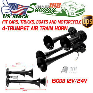 New Super Loud Black Zinc 12v 24v 185db Car Truck Boat 4 Trumpet Train Air Horn