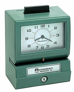 Acroprint 125nr4 Heavy Duty Manual Time Recorder For Month Date Hour 1 12 And