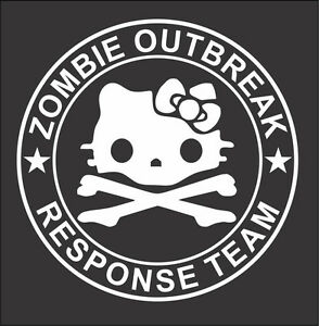 Hello Kitty Zombie Outbreak Response Team Window Decal 5 Various Colors