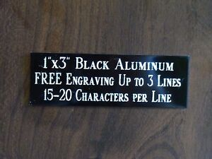 1 x3 Black Name Plate Art trophies gift taxidermy flag Case Free Engraved