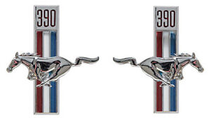New Ford Mustang 390 Running Horse Chrome Emblems Pair Right Left Side