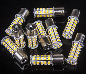 10 X Warm White 68 Smd Rv Camper Trailer Led 1156 1141 1003 Interior Light Bulbs