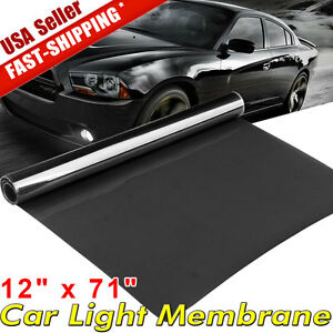 12 X71 Dark Black Car Gloss Headlight Taillight Fog Light Vinyl Tint Film Sheet