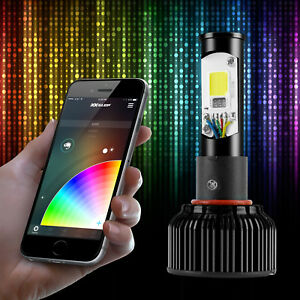 Hb4 9006 9012 2in1 Bright 6000k Led Headlight Bulbs Color Changing Devil Eye