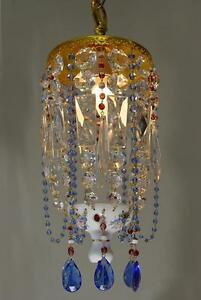 Vintage 8 X 16 Czech Bohemian Glass Red Overlay Chandelier Blue Beads Crystal