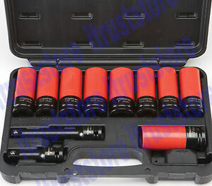 1 2 In Drive Lug Nut High Torque Torq Tool Set Impact Socket With Extension Bar