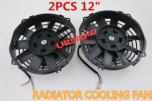 2pcs Universal Slim 12 Pull Push Radiator Engine Oil Cooling Fan mounting Kit