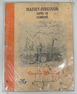 Old Massey ferguson Super 92 Combine Owners Manual