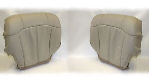 2001 2002 Chevy Tahoe Suburban Driver Passenger Bottom Leather Seat Covers Tan