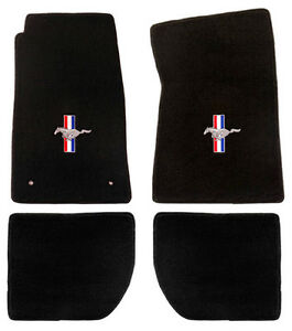 New 1965 1973 Ford Mustang Black Floor Mats Coupe Fb Set Of 4 Carpet Rwb Logo