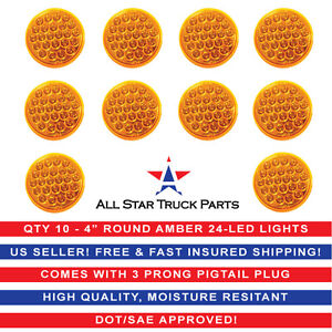 4 Inch Amber 24 Led Round Stop turn tail Truck Trailer Light 3 Wire Plug 10pc