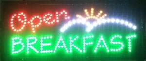 Led Neon Breakfast Open Sign With Animation And Power Two Switch 13 X 32
