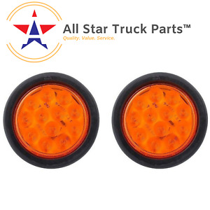 Qty 2 4 Inch Amber 12 Led Round Signal Turn Truck Light W Grommet Wiring